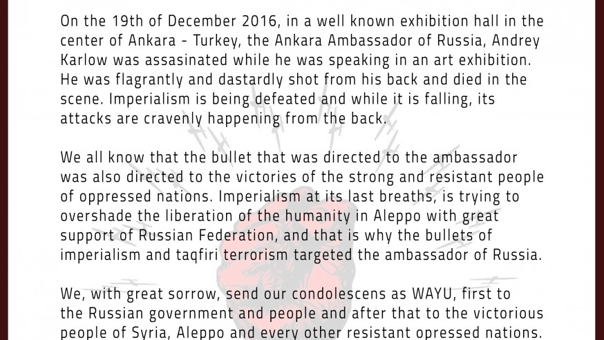 Condolence Message of WAYU on the Assassination of the Russian Ambassador