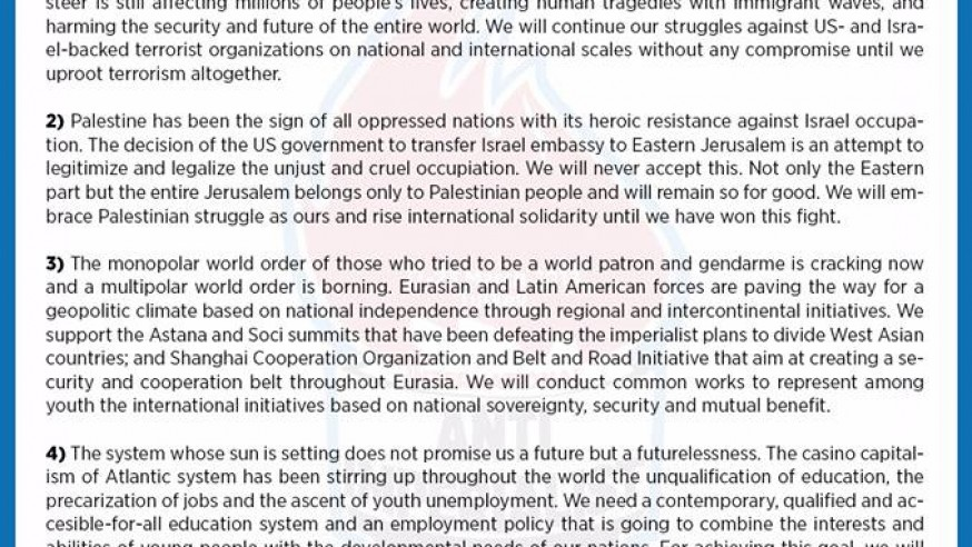 Final Declaration of International Anti-imperialist Youth Meeting