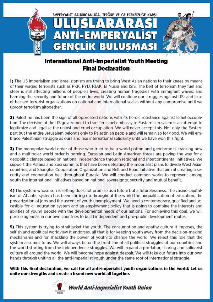 Final Declaration of International Anti-imperialist Youth